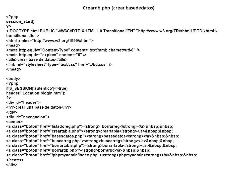 Creardb.php (crear basededatos)
