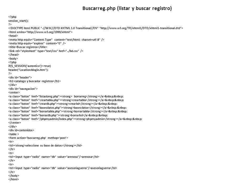 Buscarreg.php (listar y buscar registro)