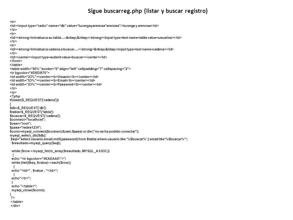 Sigue buscarreg.php (listar y buscar registro)