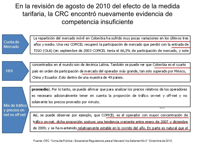 En la revisión de agosto de 2010 del efecto de la medida tarifaria, la CRC encontró nuevamente evidencia de competencia insuficiente