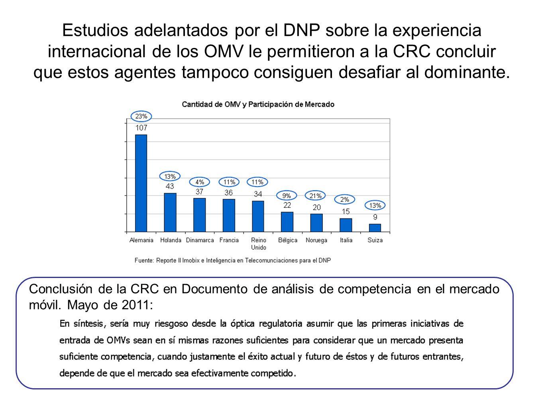 Estudios adelantados por el DNP sobre la experiencia internacional de los OMV le permitieron a la CRC concluir que estos agentes tampoco consiguen desafiar al dominante.