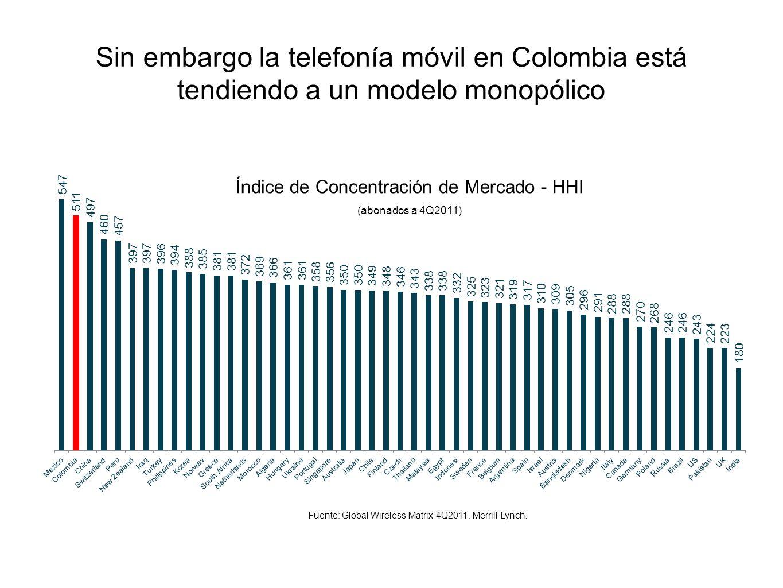 Sin embargo la telefonía móvil en Colombia está tendiendo a un modelo monopólico