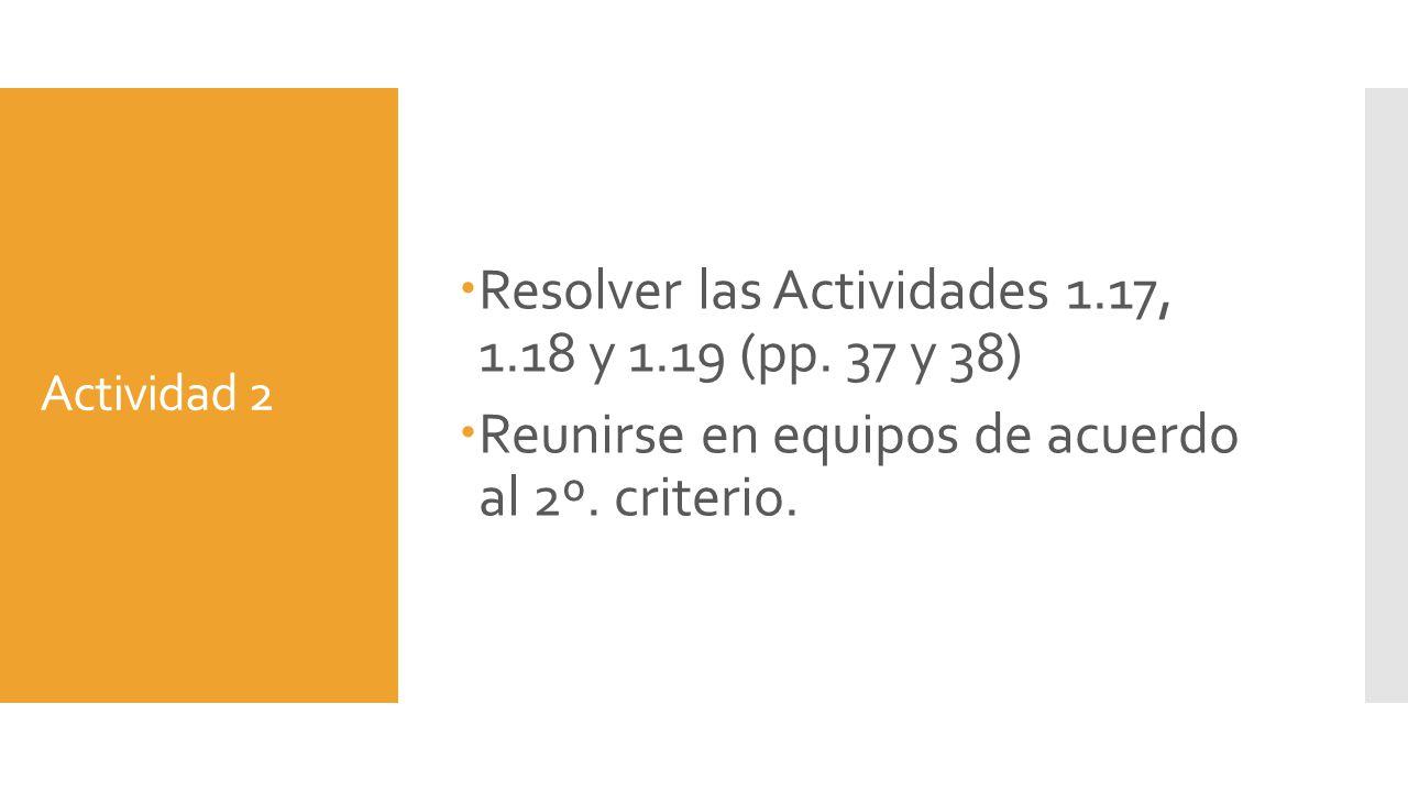 Resolver las Actividades 1.17, 1.18 y 1.19 (pp. 37 y 38)