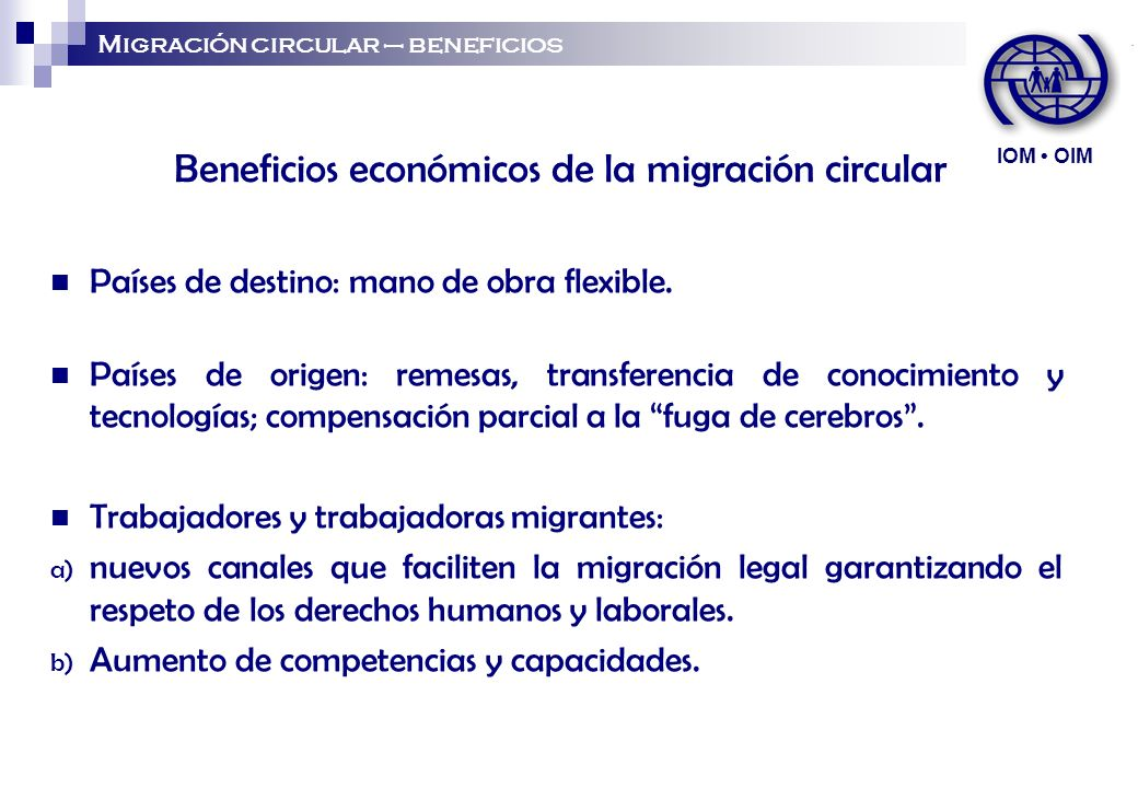 Beneficios económicos de la migración circular