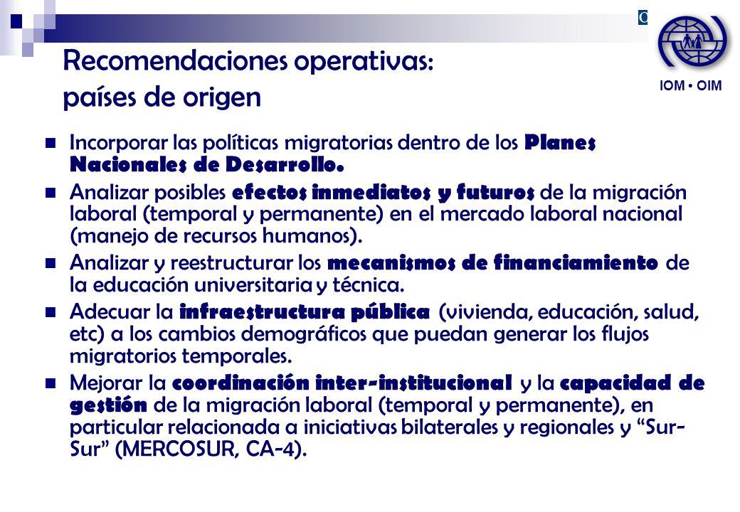 Recomendaciones operativas: países de origen