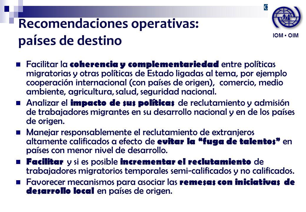 Recomendaciones operativas: países de destino