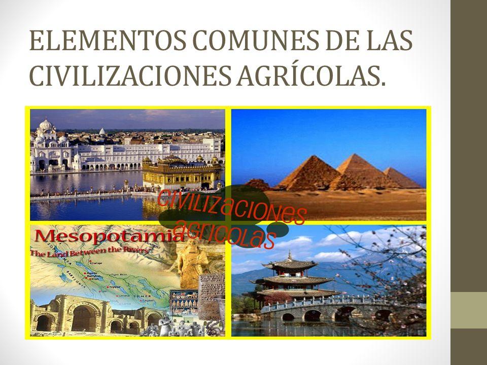 ELEMENTOS COMUNES DE LAS CIVILIZACIONES AGRÍCOLAS.
