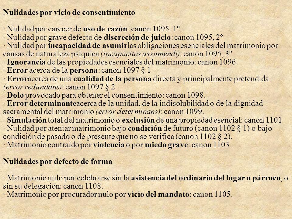 Nulidades por vicio de consentimiento · Nulidad por carecer de uso de razón: canon 1095, 1º · Nulidad por grave defecto de discreción de juicio: canon 1095, 2º · Nulidad por incapacidad de asumirlas obligaciones esenciales del matrimonio por causas de naturaleza psíquica (incapacitas assumendi): canon 1095, 3º · Ignorancia de las propiedades esenciales del matrimonio: canon 1096.