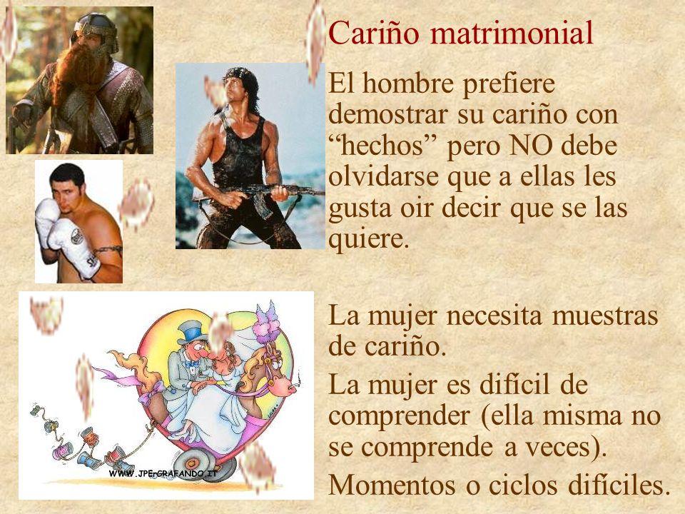 Cariño matrimonial El hombre prefiere demostrar su cariño con hechos pero NO debe olvidarse que a ellas les gusta oir decir que se las quiere.