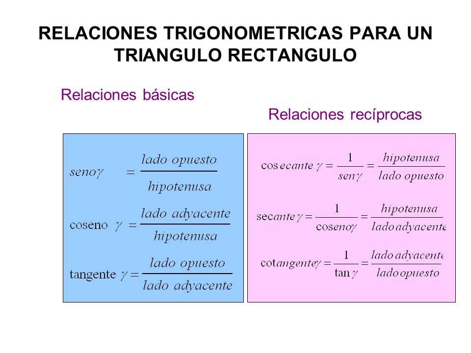 RELACIONES TRIGONOMETRICAS PARA UN TRIANGULO RECTANGULO