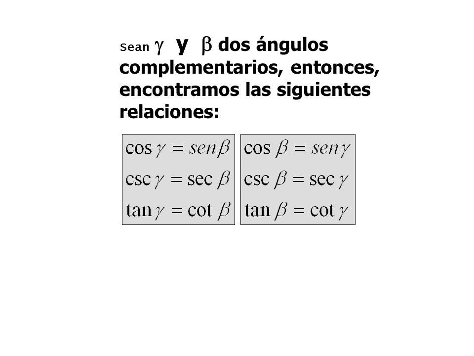 Sean  y  dos ángulos complementarios, entonces, encontramos las siguientes relaciones: