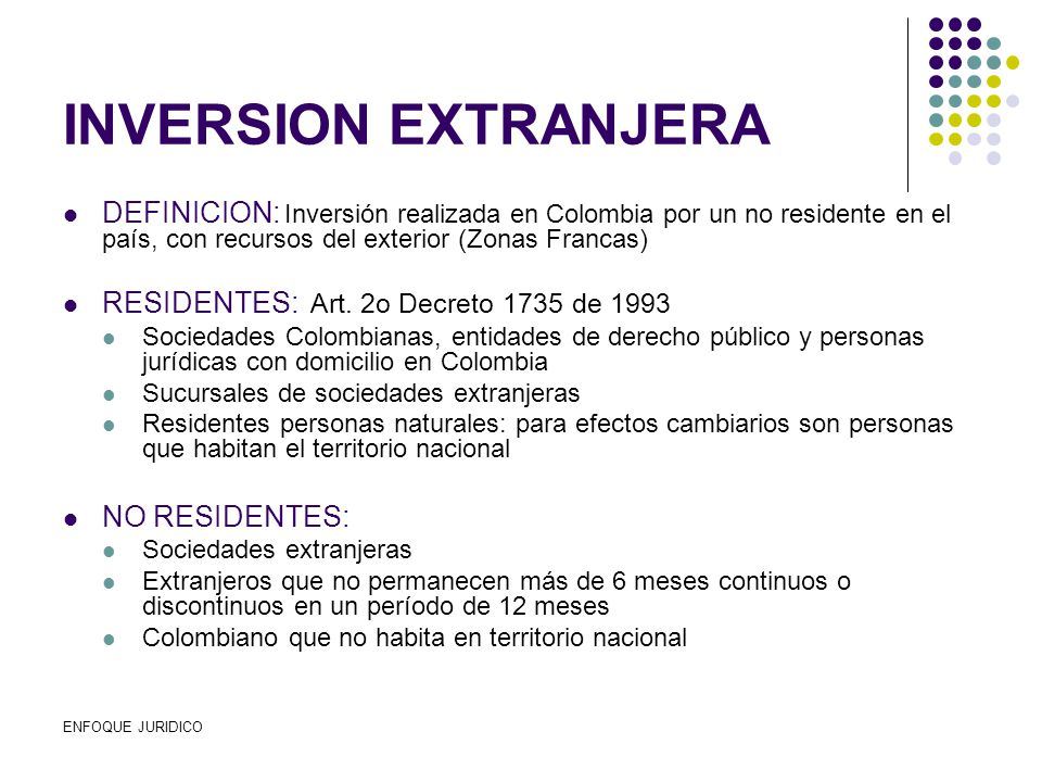 Regimen de inversion extranjera en colombia ppt descargar for Definicion exterior
