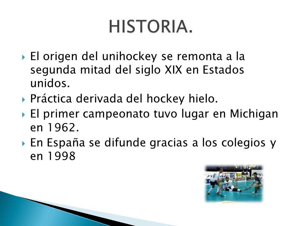 HISTORIA. El origen del unihockey se remonta a la segunda mitad del siglo XIX en Estados unidos. Práctica derivada del hockey hielo.