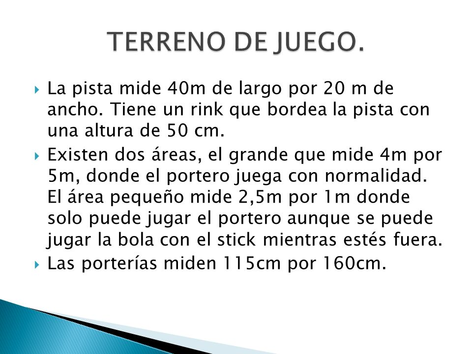 TERRENO DE JUEGO. La pista mide 40m de largo por 20 m de ancho. Tiene un rink que bordea la pista con una altura de 50 cm.