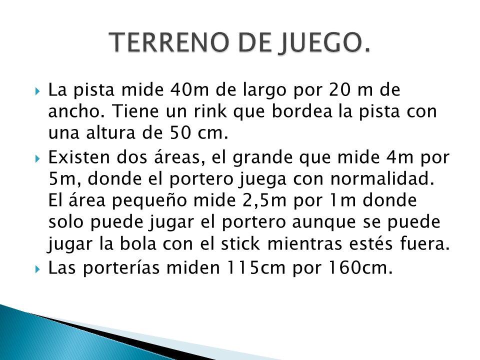 TERRENO DE JUEGO.La pista mide 40m de largo por 20 m de ancho. Tiene un rink que bordea la pista con una altura de 50 cm.