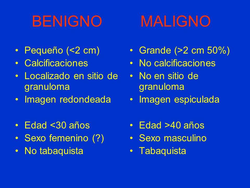 BENIGNO MALIGNO Pequeño (<2 cm) Calcificaciones