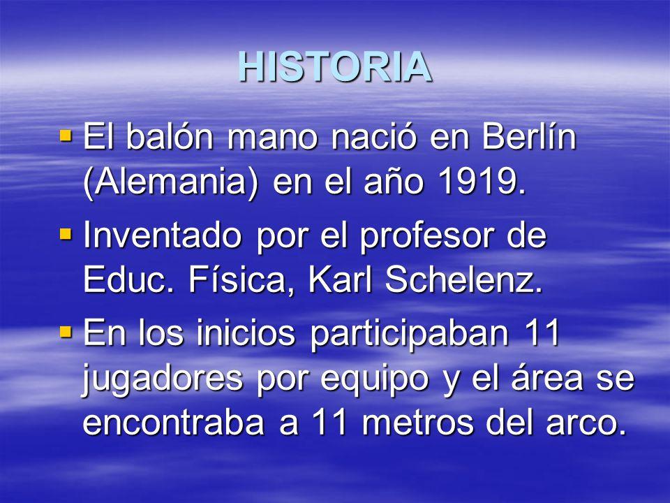 HISTORIA El balón mano nació en Berlín (Alemania) en el año 1919.