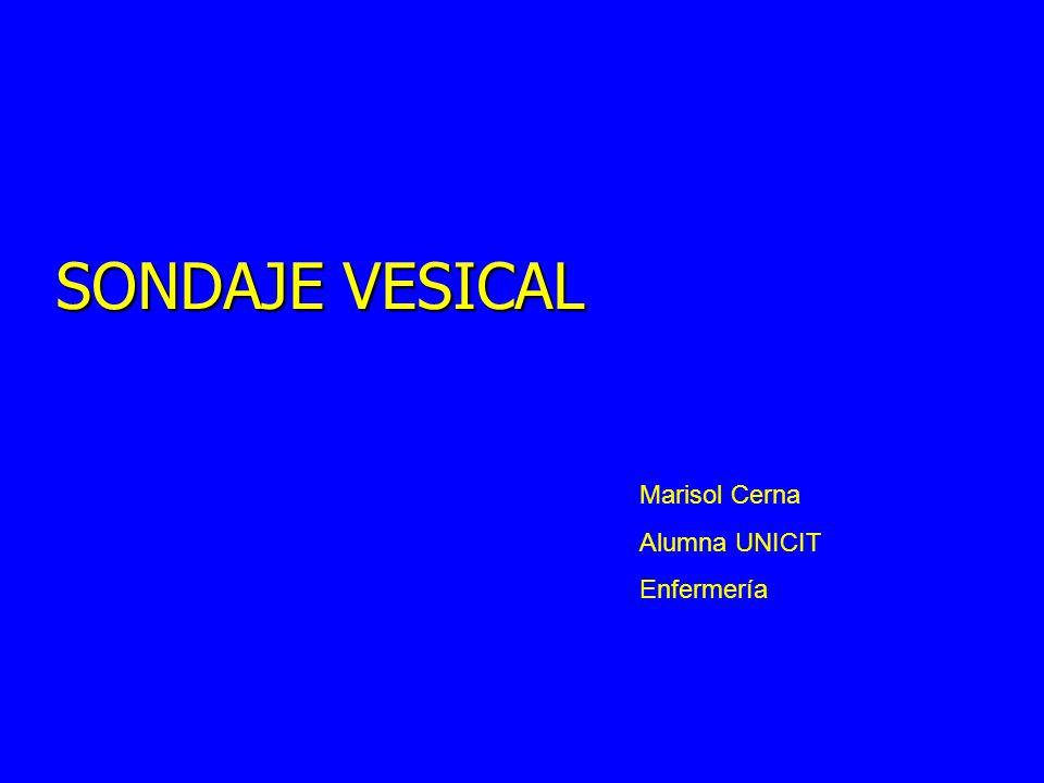 SONDAJE VESICAL Marisol Cerna Alumna UNICIT Enfermería
