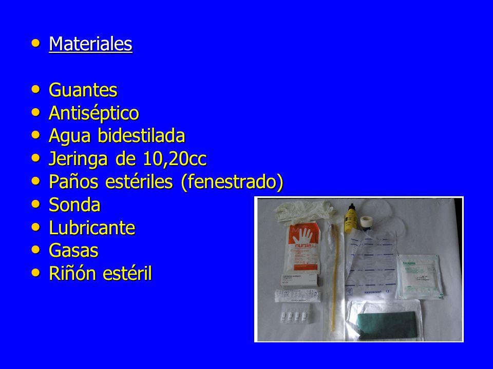 Materiales Guantes. Antiséptico. Agua bidestilada. Jeringa de 10,20cc. Paños estériles (fenestrado)