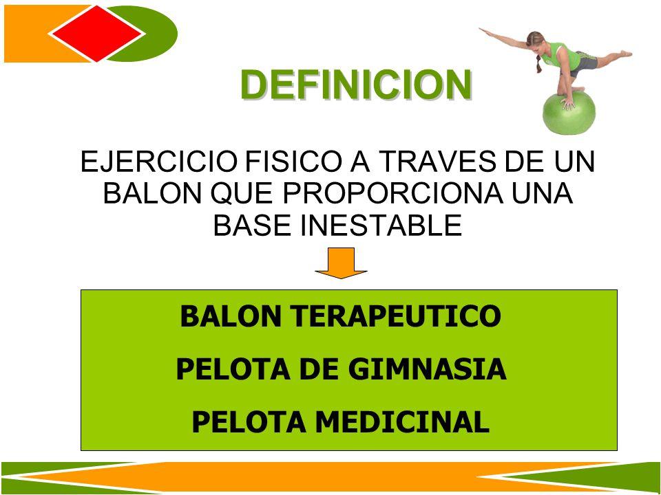 DEFINICION EJERCICIO FISICO A TRAVES DE UN BALON QUE PROPORCIONA UNA BASE INESTABLE. BALON TERAPEUTICO.