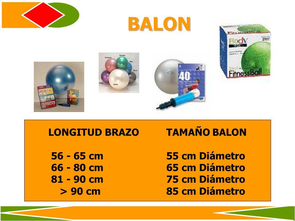 BALON LONGITUD BRAZO TAMAÑO BALON 56 - 65 cm 55 cm Diámetro