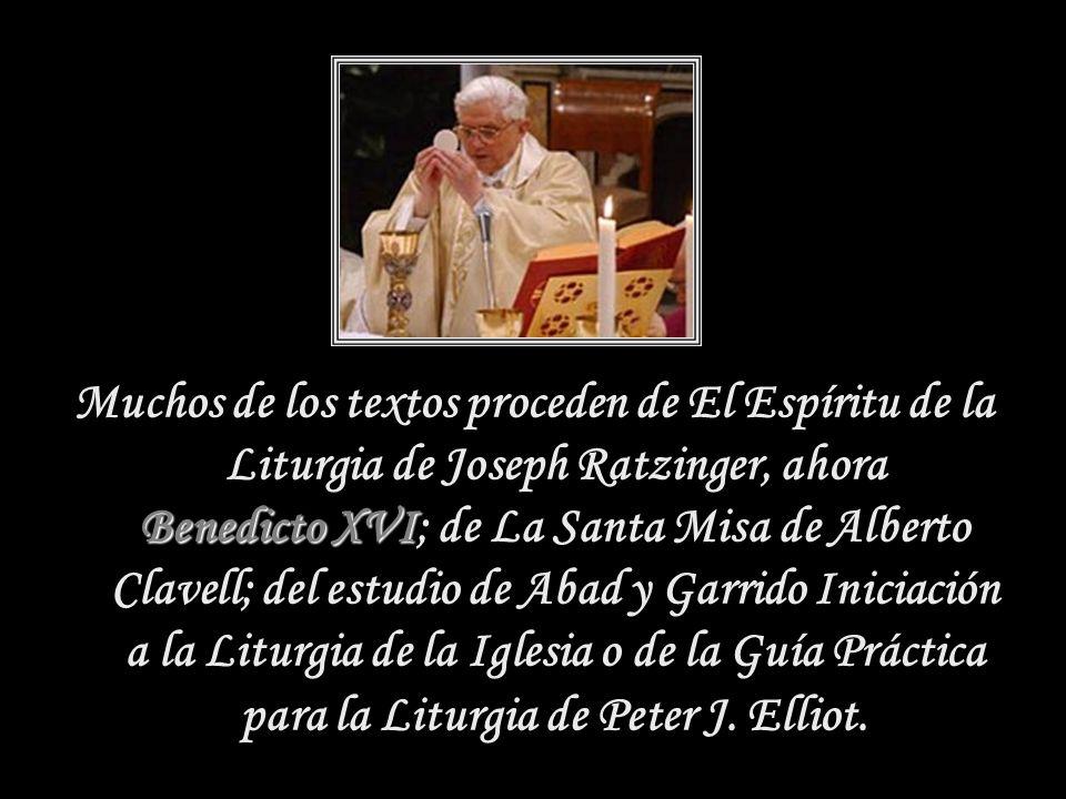 Muchos de los textos proceden de El Espíritu de la Liturgia de Joseph Ratzinger, ahora Benedicto XVI; de La Santa Misa de Alberto Clavell; del estudio de Abad y Garrido Iniciación a la Liturgia de la Iglesia o de la Guía Práctica para la Liturgia de Peter J.