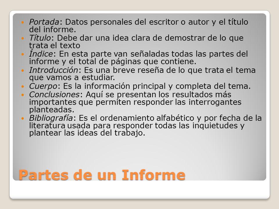 Portada: Datos personales del escritor o autor y el título del informe.