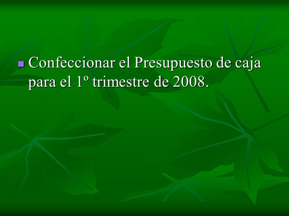 Confeccionar el Presupuesto de caja para el 1º trimestre de 2008.