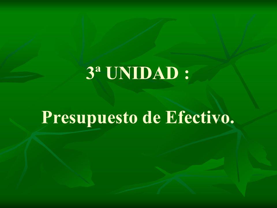 3ª UNIDAD : Presupuesto de Efectivo.
