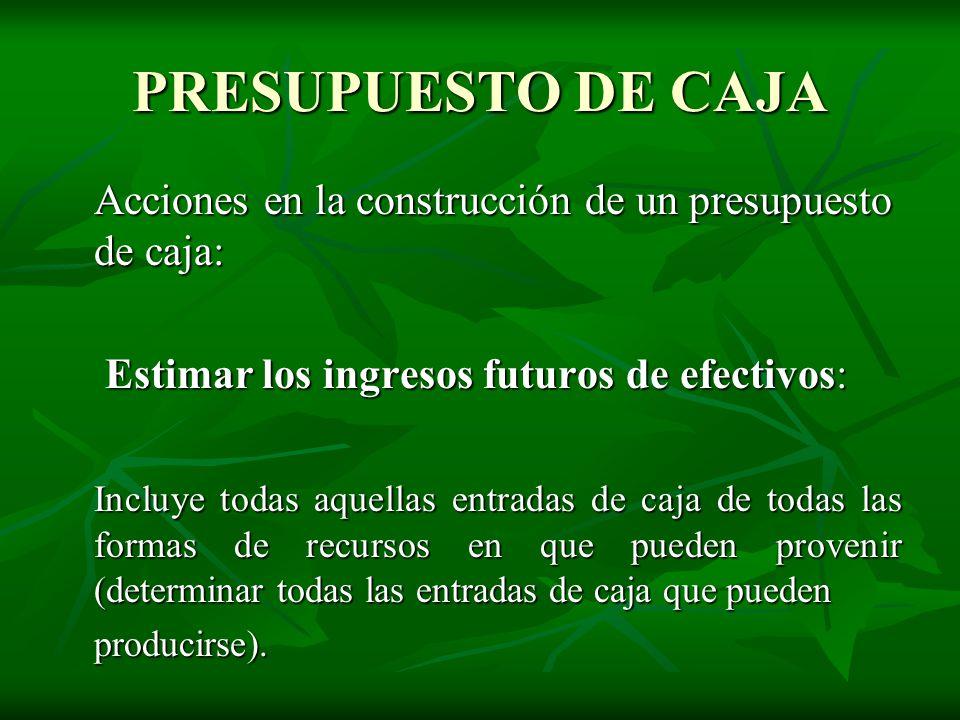 PRESUPUESTO DE CAJA Acciones en la construcción de un presupuesto de caja: Estimar los ingresos futuros de efectivos: