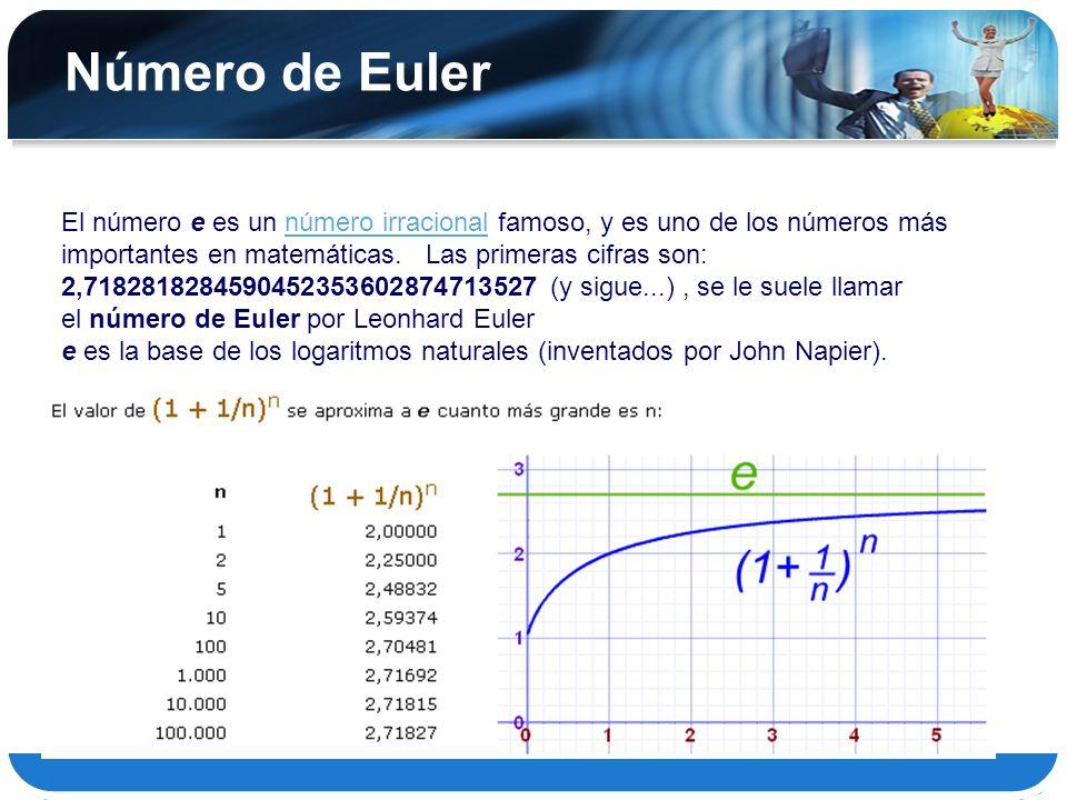 Resultado de imagen para numero de euler matematicas