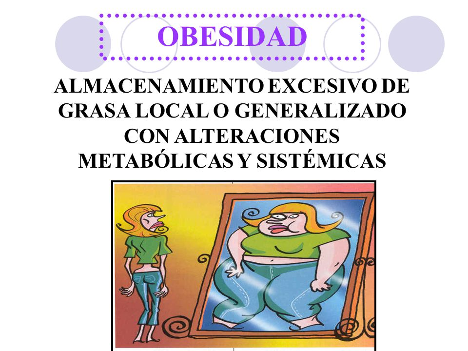 OBESIDAD ALMACENAMIENTO EXCESIVO DE GRASA LOCAL O GENERALIZADO CON ALTERACIONES METABÓLICAS Y SISTÉMICAS.