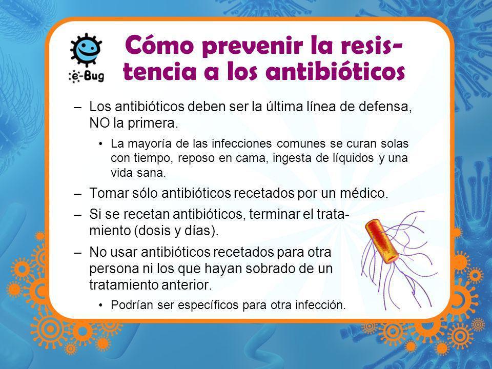 Cómo prevenir la resis-tencia a los antibióticos