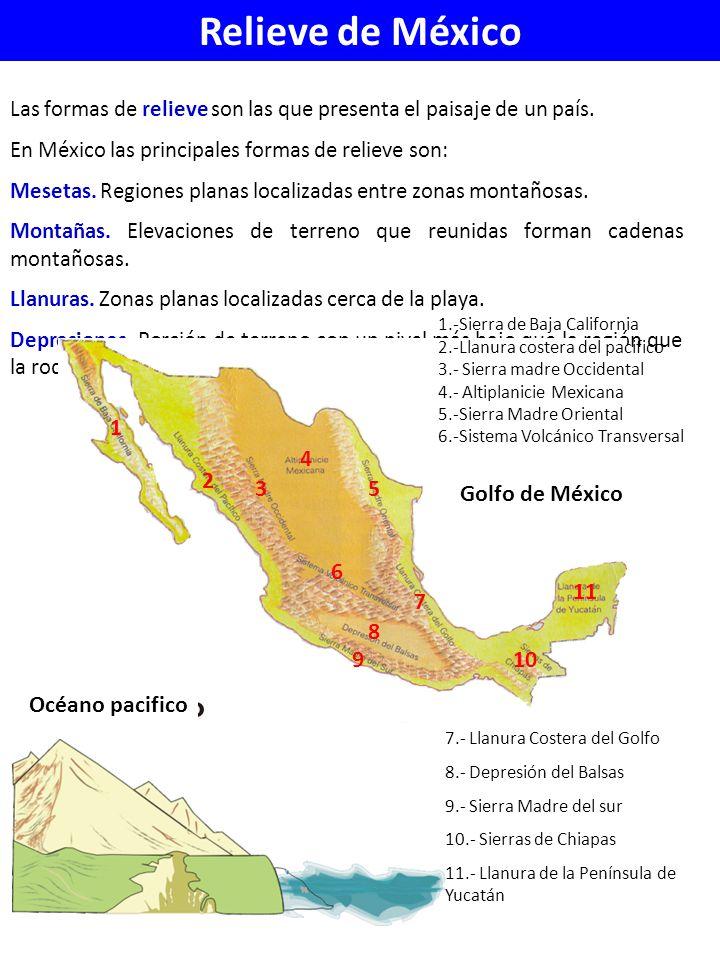 Relieve de México Golfo de México Océano pacifico 1 2 3 4 5 6 7 8 9 10
