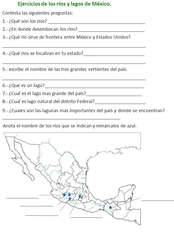 Ejercicios de los ríos y lagos de México.