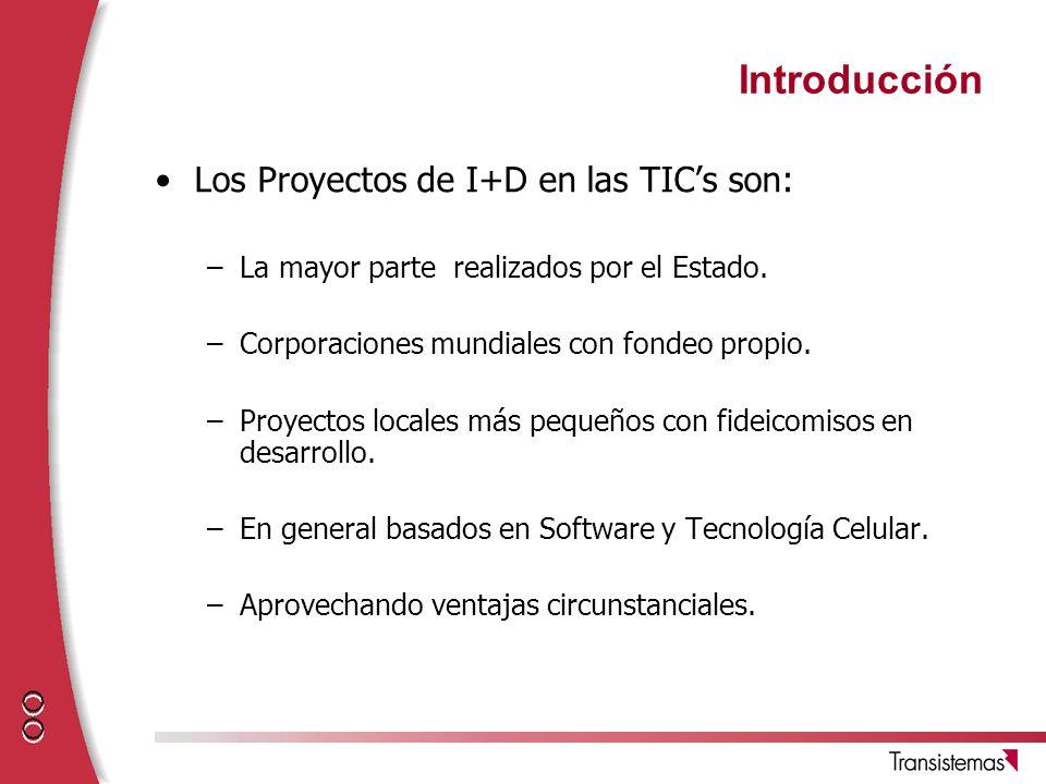 Introducción Los Proyectos de I+D en las TIC's son: