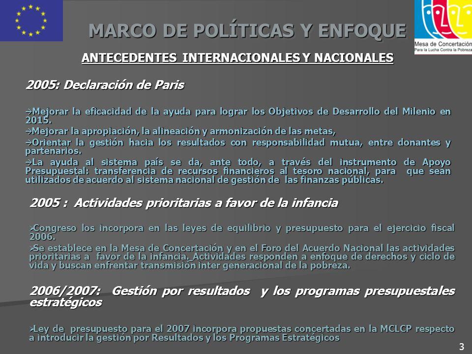 MARCO DE POLÍTICAS Y ENFOQUE