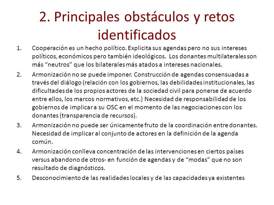 2. Principales obstáculos y retos identificados