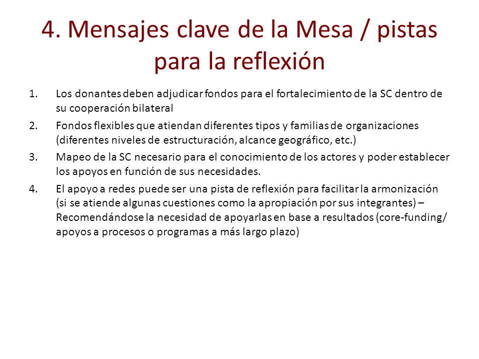 4. Mensajes clave de la Mesa / pistas para la reflexión