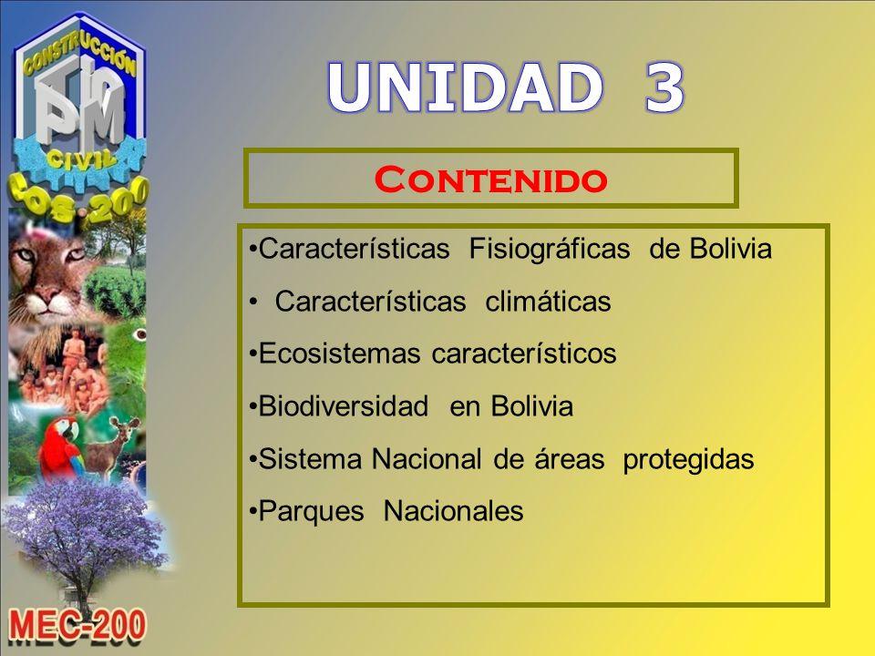 UNIDAD 3 Contenido Características Fisiográficas de Bolivia