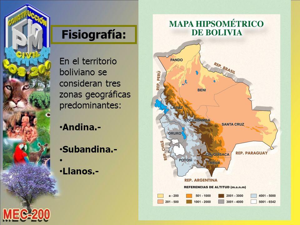 Fisiografía: En el territorio boliviano se consideran tres zonas geográficas predominantes: Andina.-