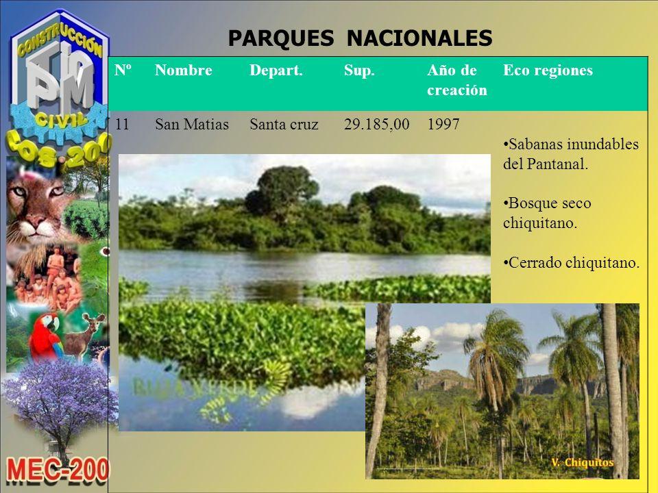 PARQUES NACIONALES Nº Nombre Depart. Sup. Año de creación Eco regiones