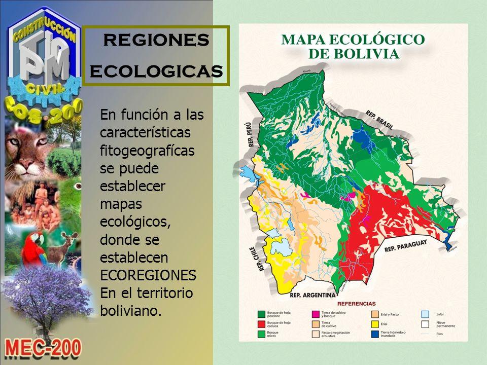 REGIONES ECOLOGICAS. En función a las características fitogeografícas se puede establecer mapas ecológicos, donde se establecen ECOREGIONES.