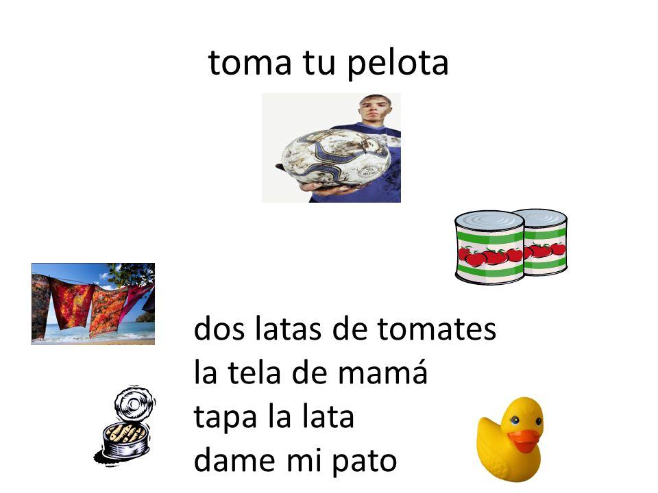 toma tu pelota dos latas de tomates la tela de mamá tapa la lata