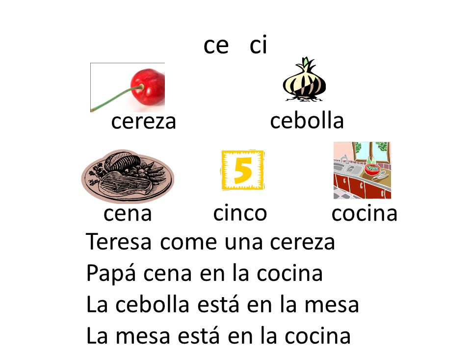 ce ci cereza cebolla cena cinco cocina Teresa come una cereza