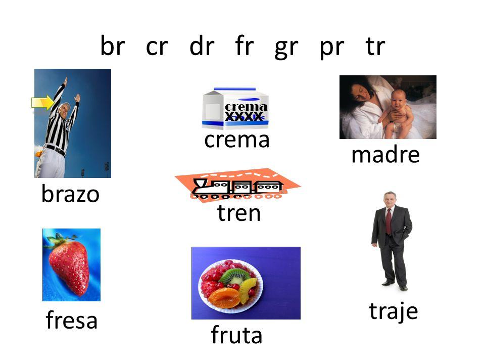 br cr dr fr gr pr tr crema madre brazo tren traje fresa fruta crema