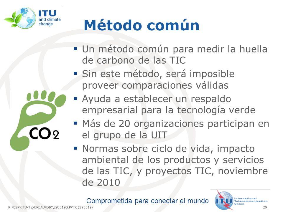 Método común Un método común para medir la huella de carbono de las TIC. Sin este método, será imposible proveer comparaciones válidas.