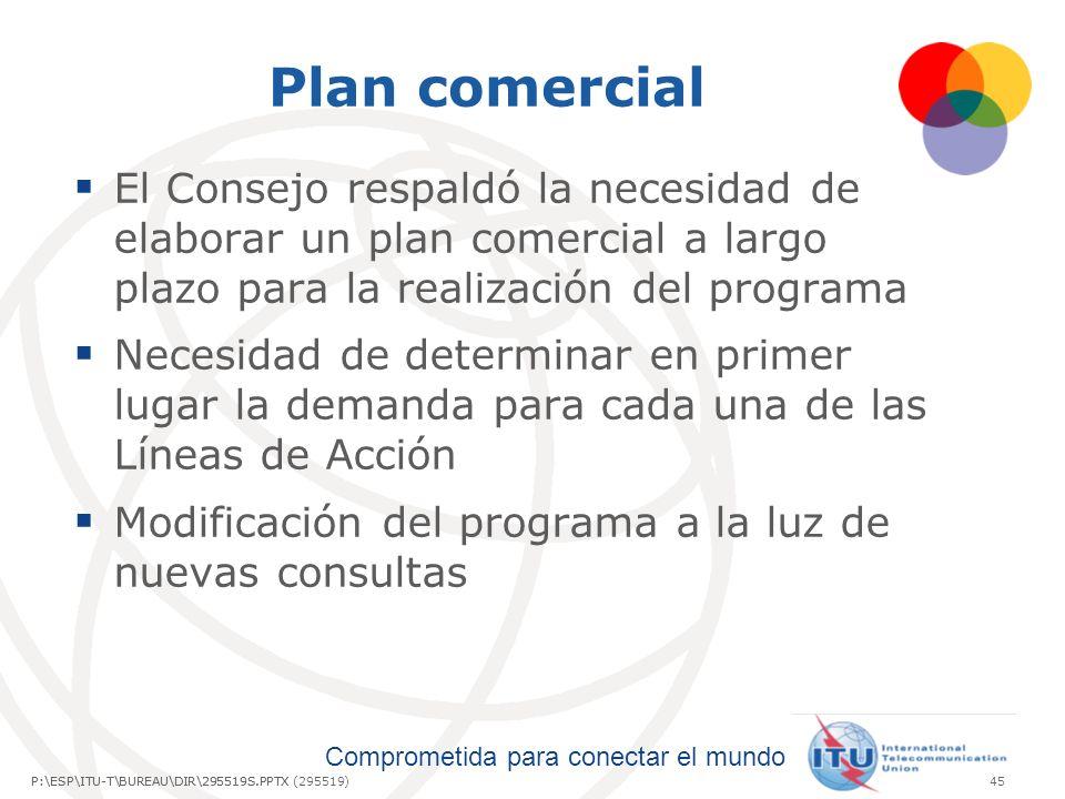 Plan comercial El Consejo respaldó la necesidad de elaborar un plan comercial a largo plazo para la realización del programa.