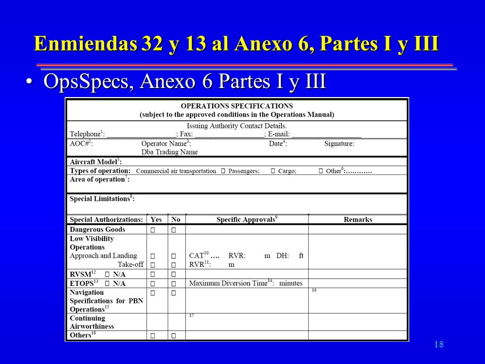 Enmiendas 32 y 13 al Anexo 6, Partes I y III