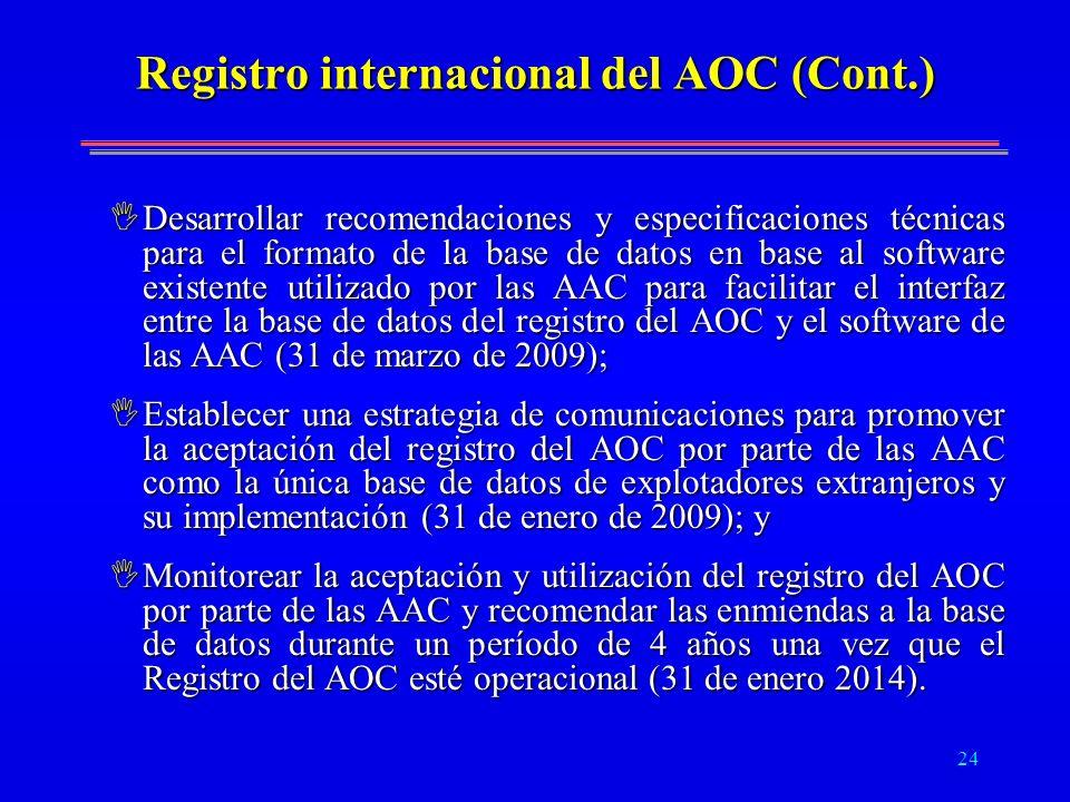 Registro internacional del AOC (Cont.)